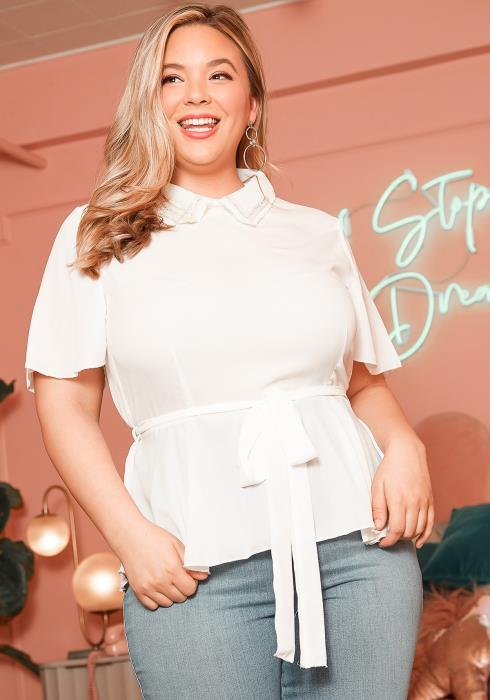Asoph Plus Size Pearl Embellished Collar Blouse