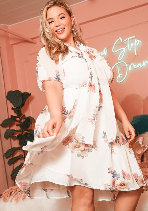 Asoph Plus Size Womens Floral Front Tie Chiffon Dress