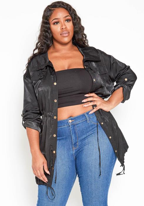 Asoph Plus Size Black Satin Collar Jacket