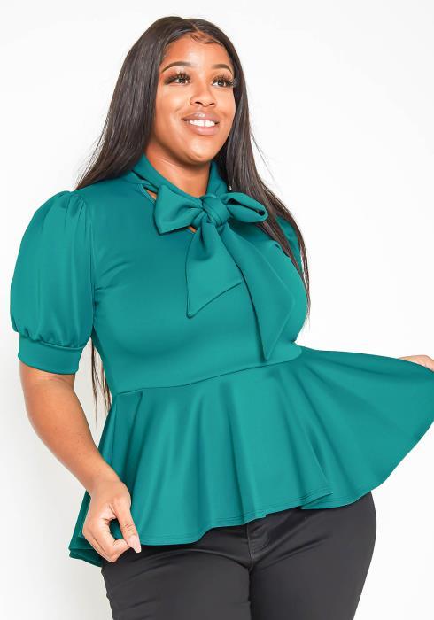 Asoph Plus Size Marvelous Tie Front Peplum Blouse