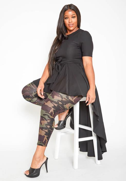 Asoph Plus Size High To Low Maxi Peplum Blouse
