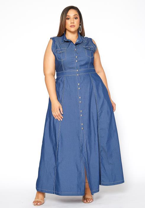 Asoph Plus Size Sleeveless Collar Denim Maxi Dress