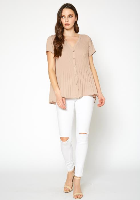 PLEIONE Ribbed Short Sleeve Button Front Blouse