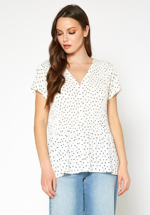 PLEIONE Printed Short Sleeve Button Front Blouse