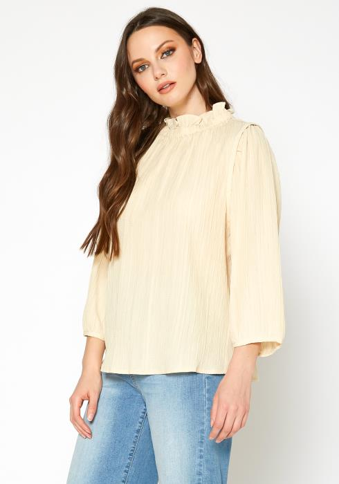 Bellatrix Textured Mock Neck Button Back Top