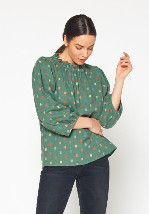 Bellatrix Womens Polka Square Blouse Top