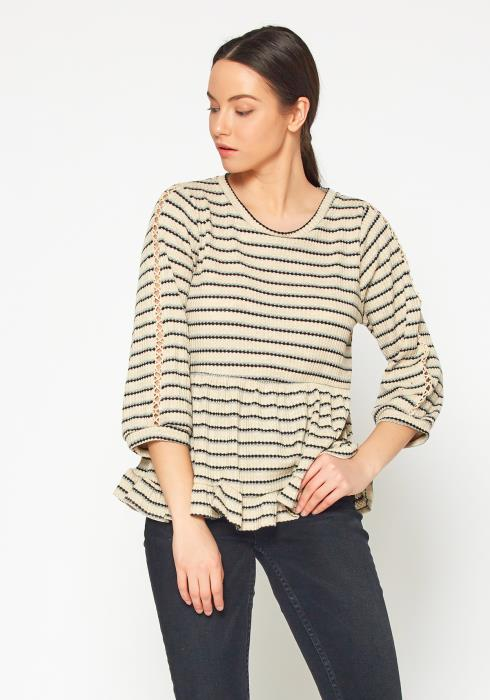 Bellatrix Womens Ruffle Hem Stripe Sweater