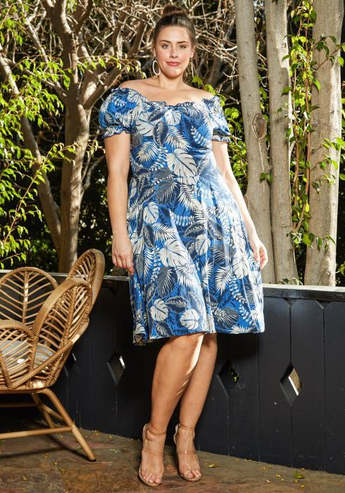 Asoph Plus Size Aloha Leaf Print Fit & Flare Dress