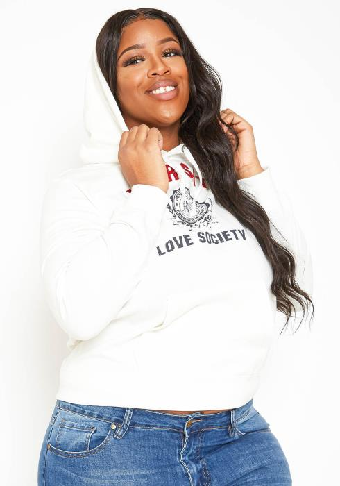 Asoph Plus Size Love Society Varsity Hooded Sweater