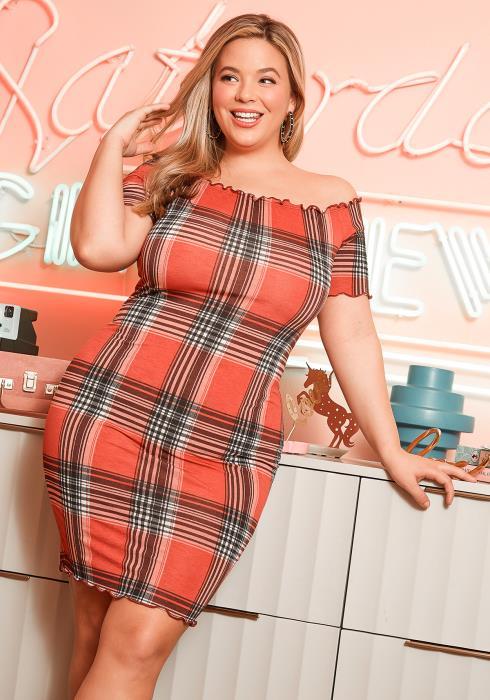 Asoph Plus Size Western Plaid Off Shoulder Mini Dress