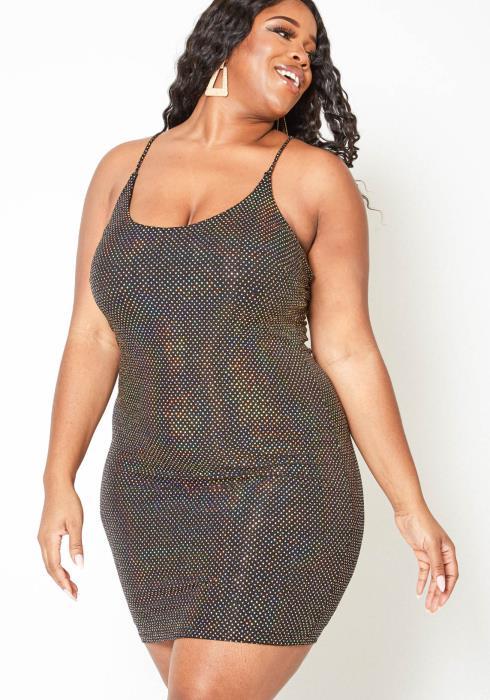 Asoph Plus Size Reflective Sequin Cross Back Cami Bodycon Dress