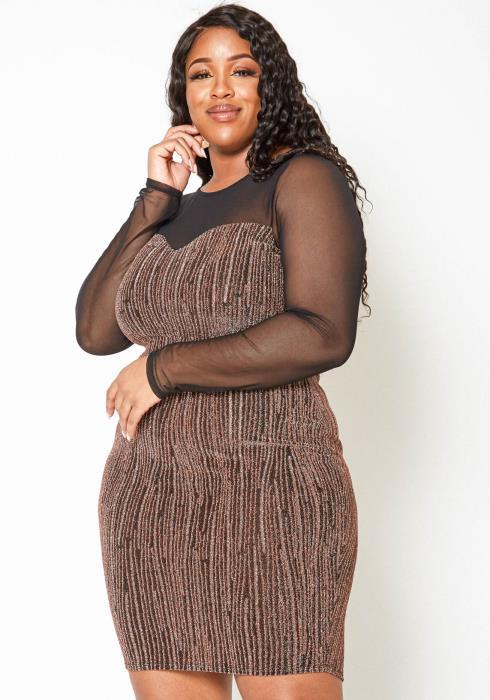 Asoph Plus Size Rose Gold Shimmer Mesh Contrast Bodycon Dress