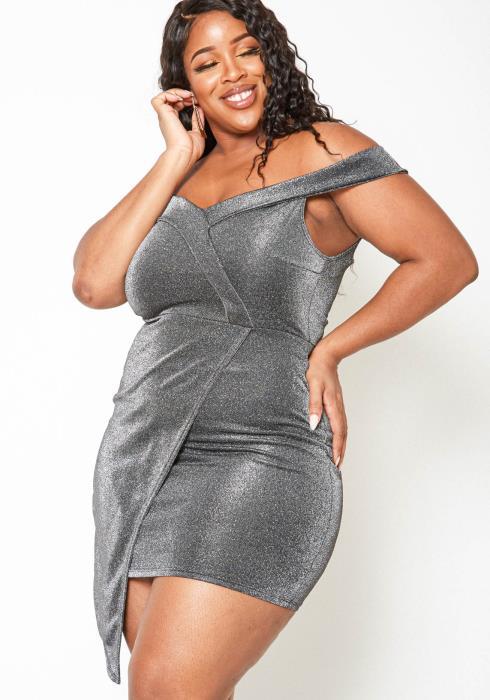 Asoph Plus Size Dazzling Shimmer Off Shoulder Mini Dress