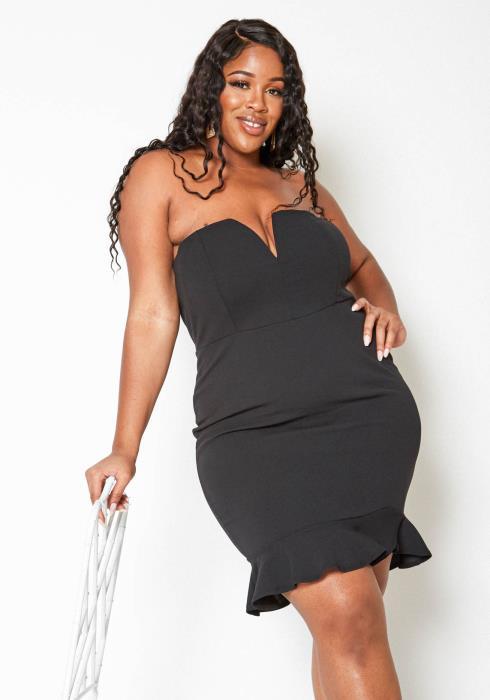 Asoph Plus Size Ruffle Flare End V Split Tube Dress