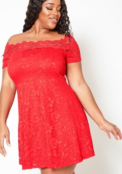 Asoph Plus Size Floral Embroidered Off Shoulder Dress