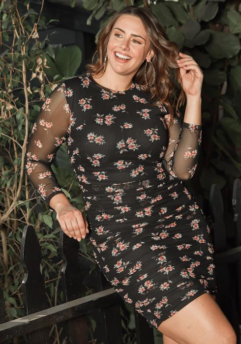 Asoph Plus Size Romantic Floral Print Bodycon Ruched Mini Dress