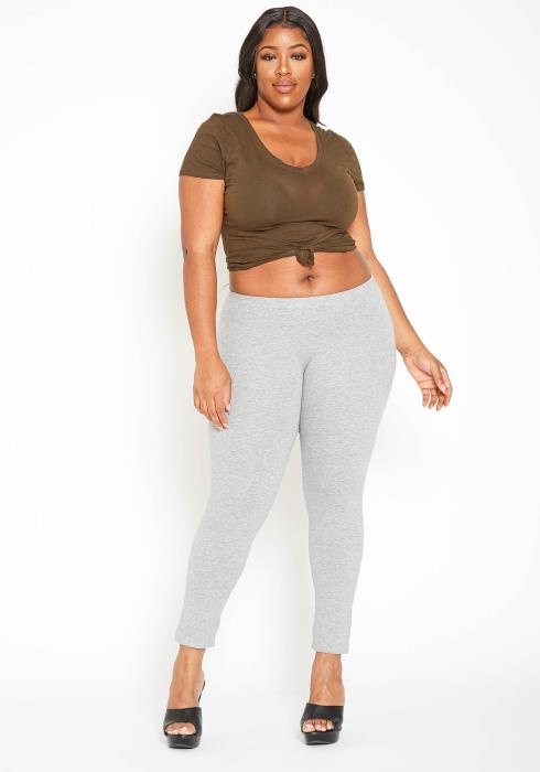 Asoph Plus Size Low Rise Classic Grey Leggings