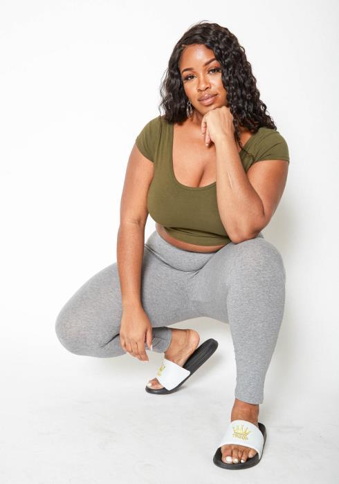 Asoph Plus Size Heather Gray Low Rise Leggings