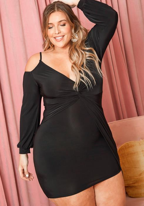 Asoph Plus Size Twist Hem V Neck Bodycon Party Dress