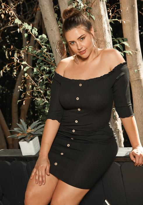 Asoph Plus Size Off Shoulder Button Hem Ribbed Dress