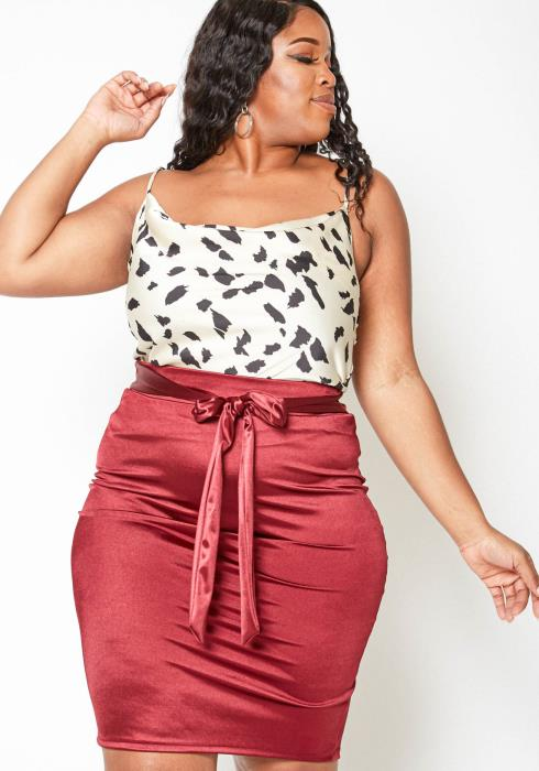 Asoph Plus Size Dreamy Satin Womens Pencil Skirt