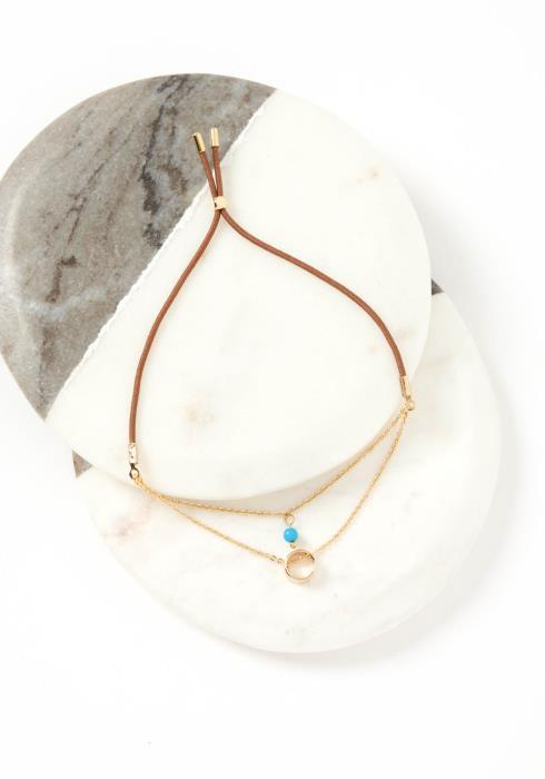 Zaire Golden Tiered Brown Drawstring Bracelet