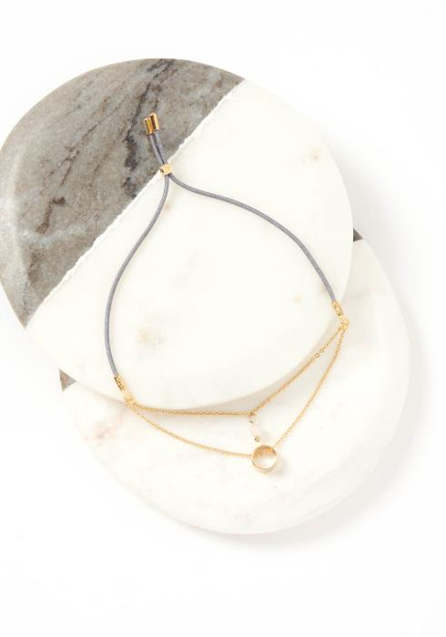 Zaire Golden Tiered Gray Drawstring Bracelet