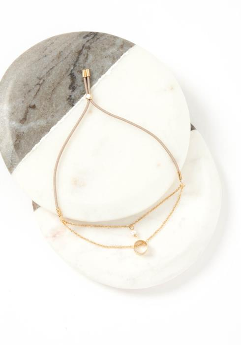 Zaire Golden Tiered Beige Drawstring Bracelet