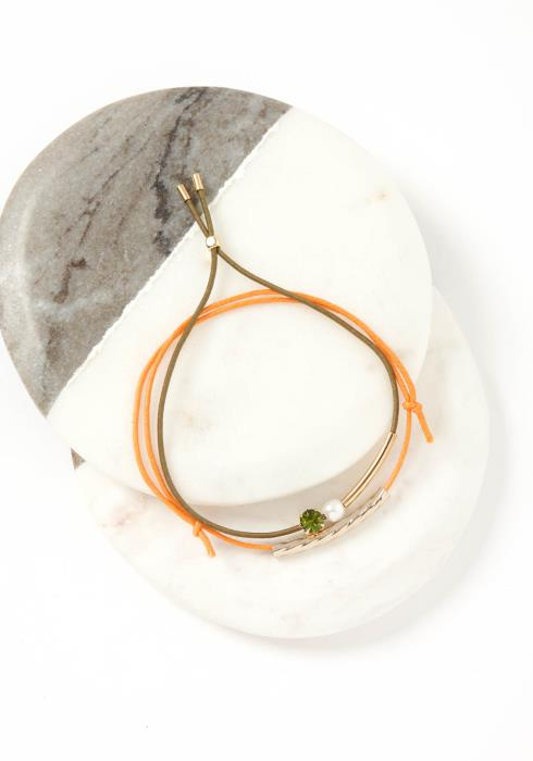 Skye Green & Orange Drawstring Bracelet Set