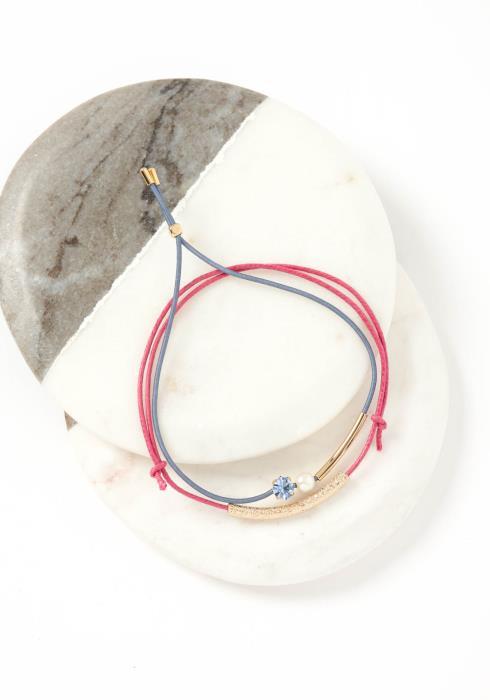Skye Pink & Blue Drawstring Bracelet Set
