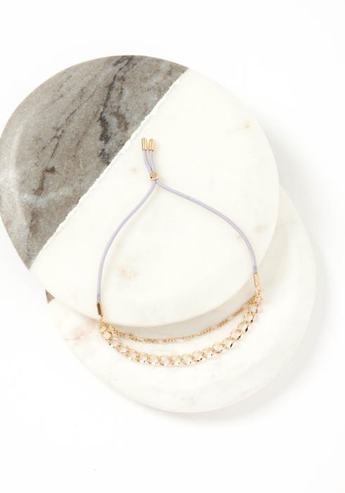 Nara Double Gold Chain Lilac Drawstring Bracelet