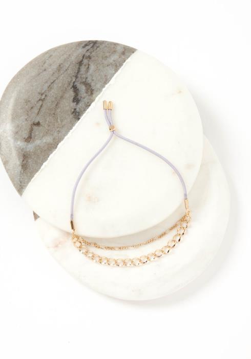 Nara Double Gold Chain Lilac Drawstring Bracelet