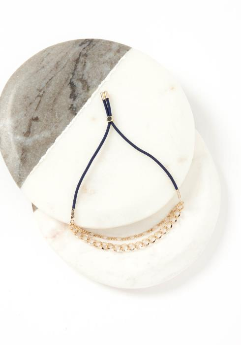 Nara Double Gold Chain Navy Drawstring Bracelet