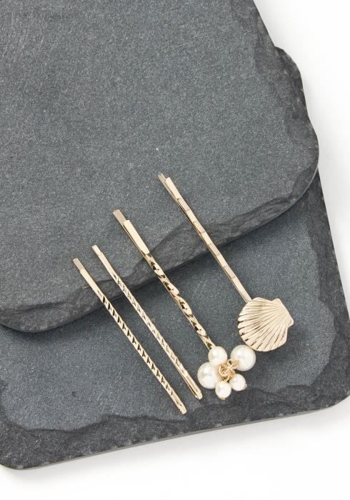 Malibu Seashell Quadruple Gold Bobby Pin Set