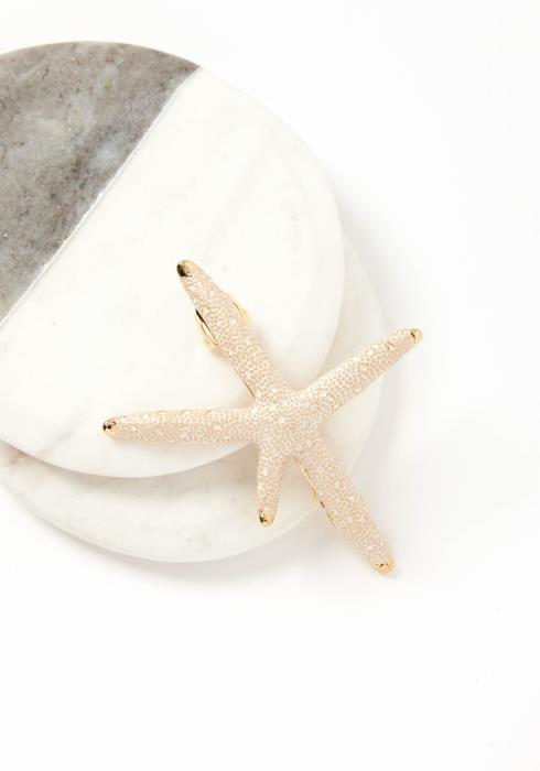 Pacifica Silver White Tone Starfish Hair Clip