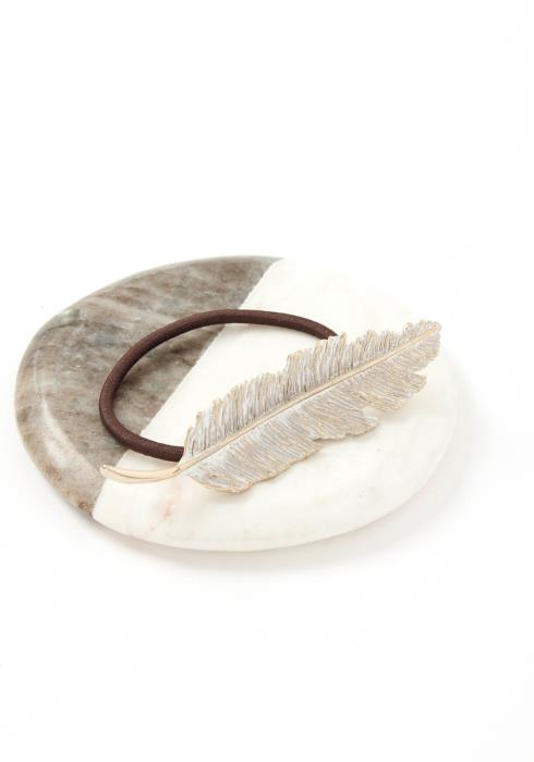 White Coated Feather Leaf Hair Tie