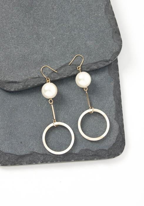 Bridgette White O Ring Pearl Drop Earrings