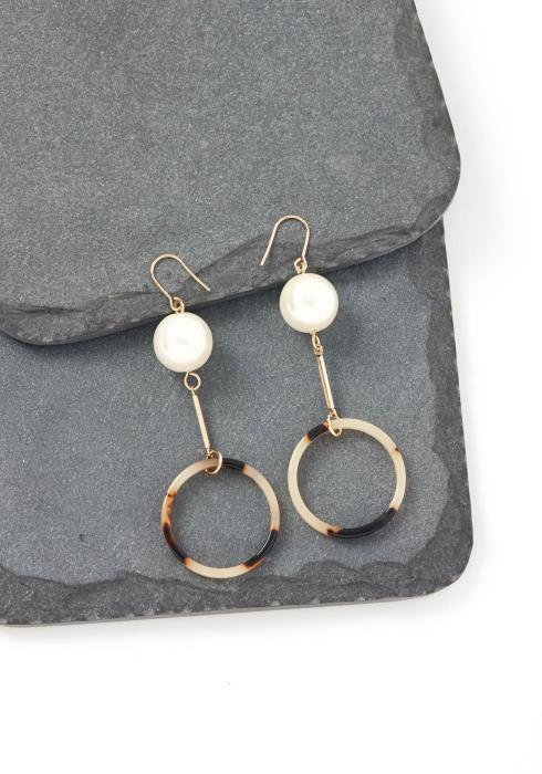 Bridgette Stained O Ring Pearl Drop Earrings