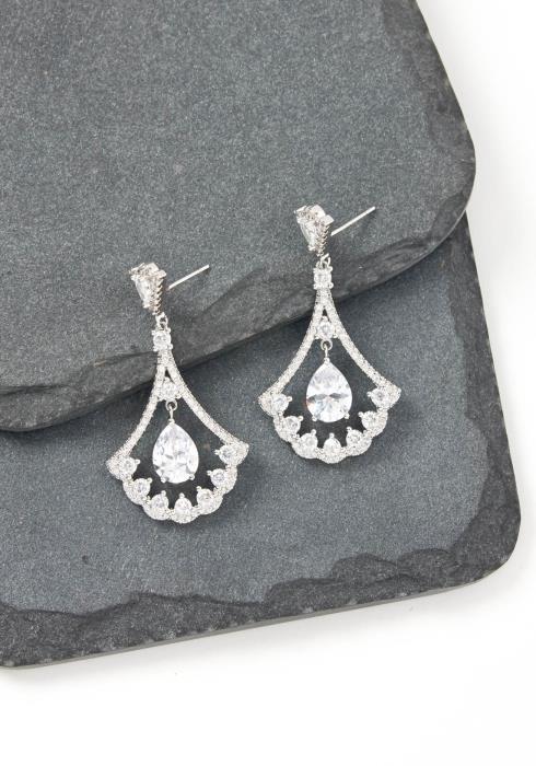 Cecelia Silver Raindrop Crystal Stud Earring