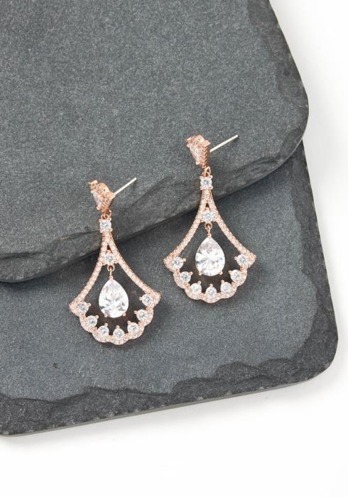 Cecelia Rose Gold Raindrop Crystal Stud Earring