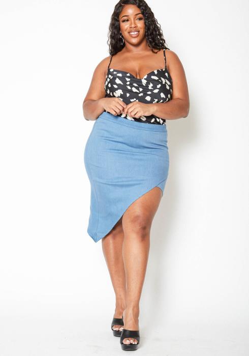 Asoph Plus Size Light Denim Asymmetric Pencil Skirt
