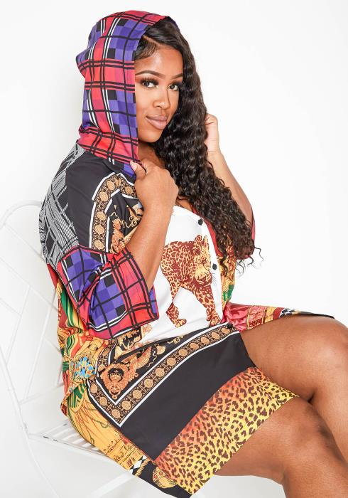 Asoph Plus Size Wild Thoughts Hooded Oversized Dress