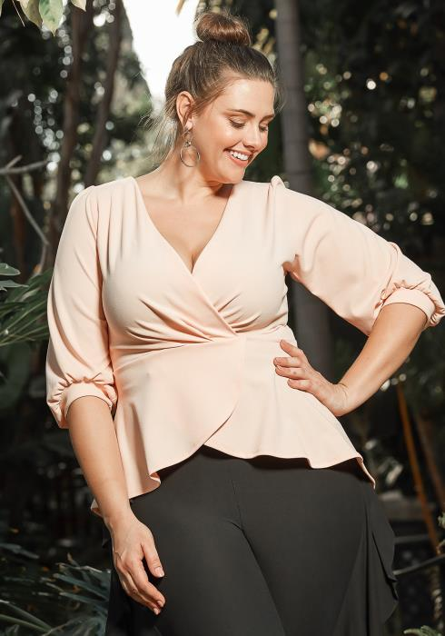 Asoph Plus Size High Low Peplum Flare Blouse