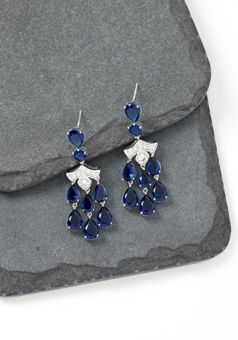 Christiana Navy Jewel Stud Earrings
