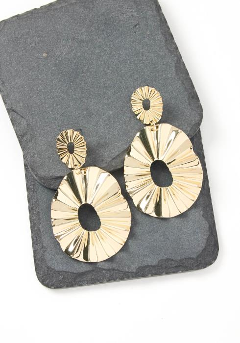 Meredith Gold Textured Plate Drop Earrings