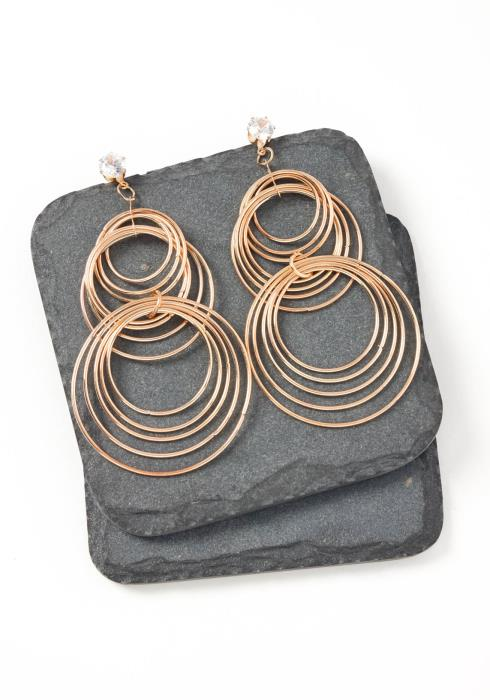 Vienna Gold Round Tier Drop Earrings
