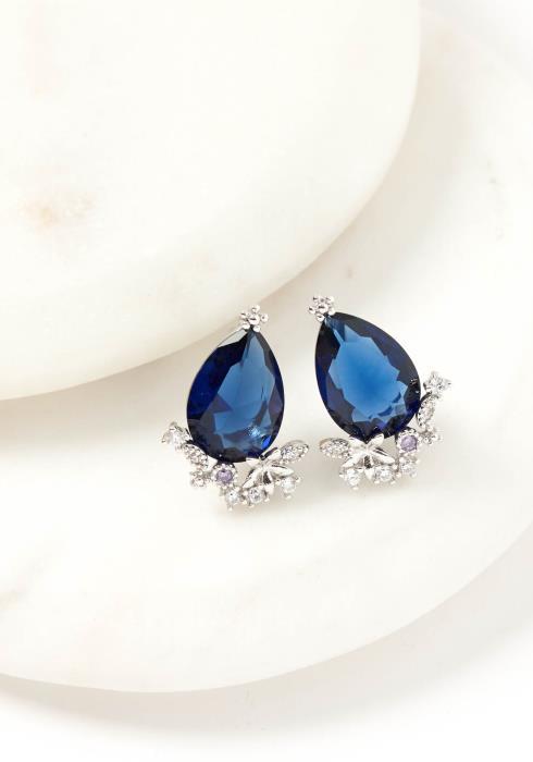 Octavia Navy Jewel Stud Earring