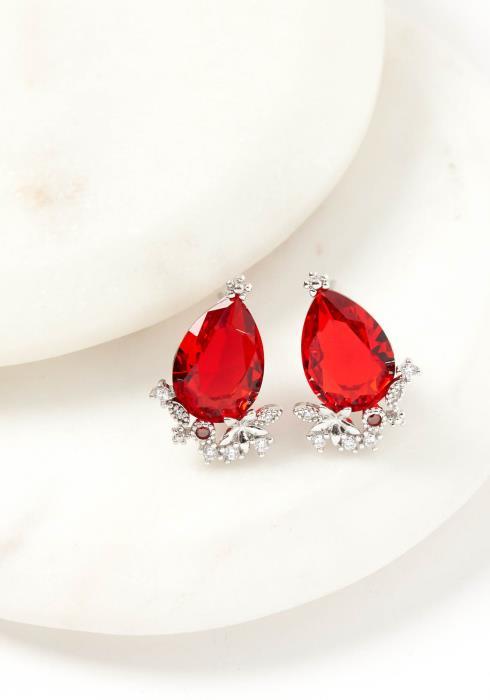 Octavia Red Jewel Stud Earring