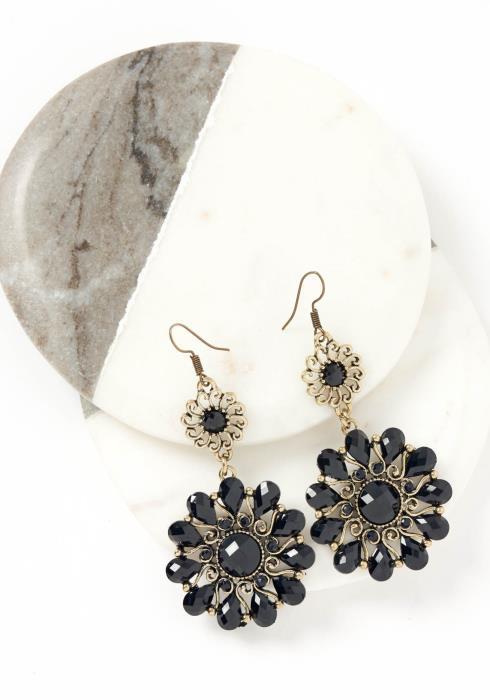 Natalia Dark Bohemian Flower Drop Earrings