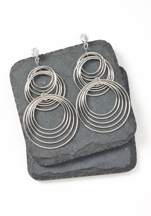 Vienna Silver Round Tier Drop Earrings